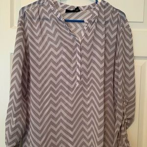 Chevron Pattern 3/4 Length Blouse